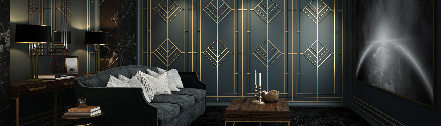 Patterned wallpaper brings a dramatic feel to this media room.
